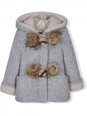 Chunky-knit pompom detail jacket Lapin House. Цвет: синий