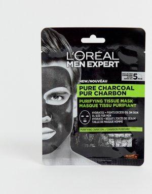 Очищающая маска-салфетка с чистым древесным углем LOreal Men Expert, 30 г-Бесцветный L'Oreal Expert