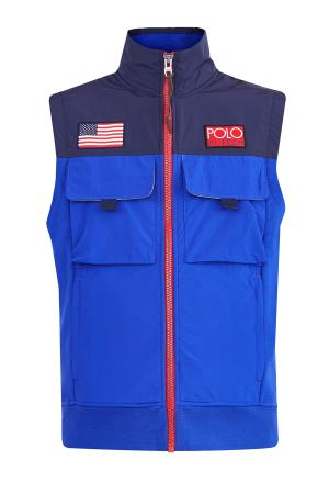 Жилет Hi Tech с накладными карманами в стиле моделей бренда 90х годов POLO RALPH LAUREN. Цвет: синий