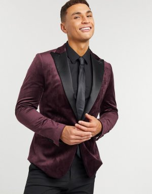 Бархатный облегающий пиджак с атласными острыми лацканами -Фиолетовый Gianni Feraud
