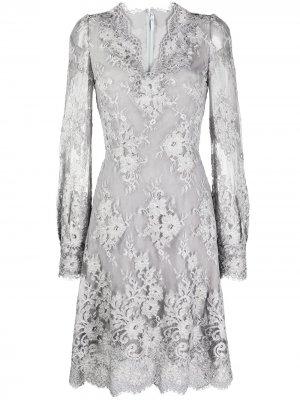Кружевное платье с длинными рукавами Ermanno Scervino. Цвет: серый