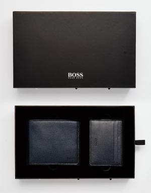 Подарочный набор с кожаным кошельком и визитницей Hugo Boss. Цвет: черный
