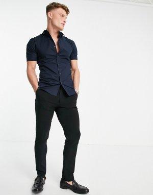 Темно-синяя поплиновая рубашка облегающего кроя с короткими рукавами -Темно-синий New Look