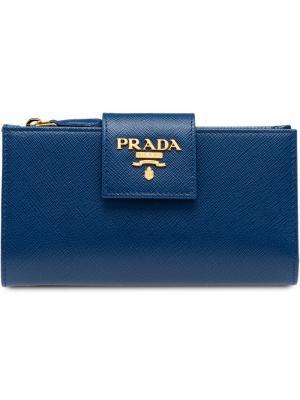 Кошелек среднего размера Prada. Цвет: синий