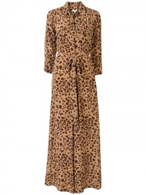 LAgence платье-рубашка макси с леопардовым принтом L'Agence. Цвет: коричневый