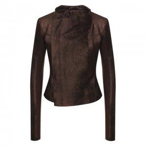 Кожаная куртка Rick Owens. Цвет: коричневый