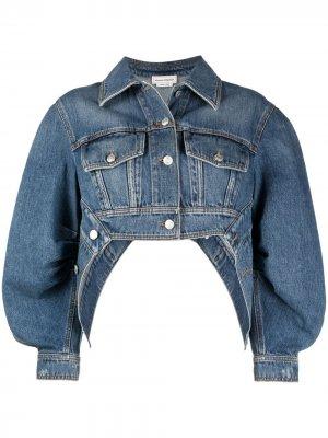 Укороченная джинсовая куртка с пышными рукавами Alexander McQueen. Цвет: синий