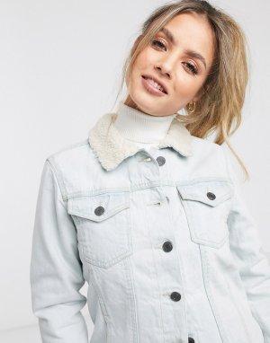 Джинсовая куртка с подкладкой из искусственного меха -Синий Brave Soul