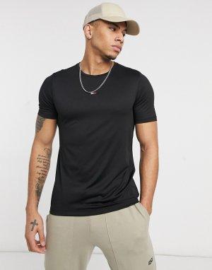 Черная спортивная футболка узкого кроя с логотипом-флагом Performance-Черный цвет Tommy Hilfiger