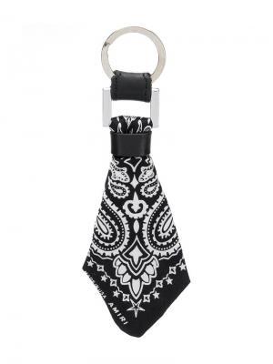 Брелок для ключей с деталью в виде банданы AMIRI. Цвет: черный