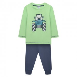 Хлопковая пижама Sanetta. Цвет: зелёный