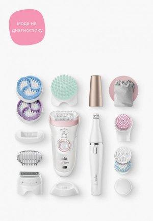 Набор Braun эпилятор и массажные насадки Silk-epil 9 Beauty Set SES 9-995. Цвет: белый