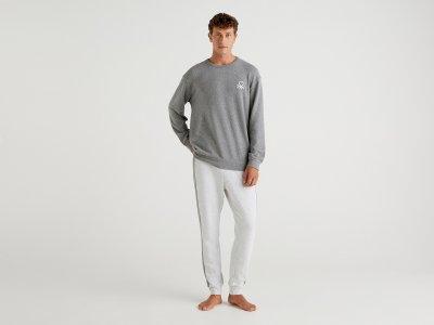 Утепленная пижама Benetton. Цвет: серый