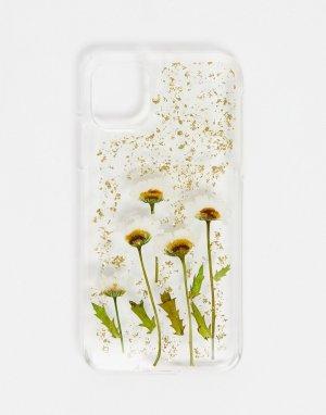 Прозрачный чехол для iPhone 11 с цветочным дизайном -Многоцветный Monki