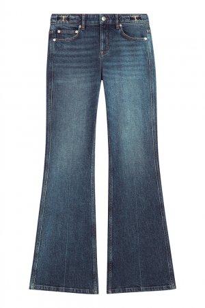 Синие расклешенные джинсы с потертостями Maje. Цвет: синий