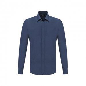 Сорочка из шелка и хлопка Ermenegildo Zegna. Цвет: синий