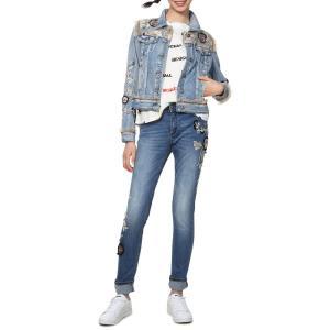 Жакет прямого покроя с графическим рисунком из джинсовой ткани DESIGUAL. Цвет: голубой выбеленный