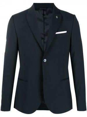 Однобортный пиджак Daniele Alessandrini. Цвет: синий