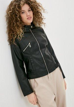 Куртка кожаная Pink Woman. Цвет: черный