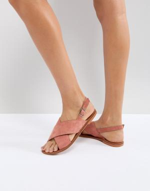 Кожаные сандалии ASOS FLICKER DESIGN. Цвет: розовый