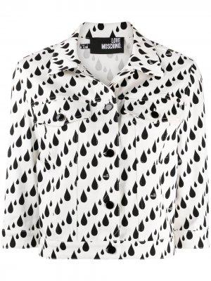 Джинсовая куртка с принтом Love Moschino. Цвет: белый