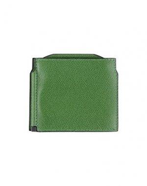 Кошелек для монет VALEXTRA. Цвет: зеленый
