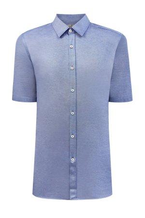 Рубашка с короткими рукавами из мерсеризованного хлопка пике CANALI. Цвет: голубой