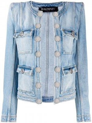 Стеганая джинсовая куртка Balmain. Цвет: синий