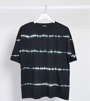 Oversized-футболка в полоску тай-дай ASOS DESIGN Tall-Черный Tall