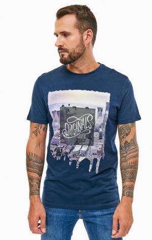 Синяя хлопковая футболка с принтом Jack & Jones. Цвет: синий