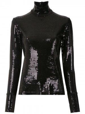 Блузка с высоким воротником Gloria Coelho. Цвет: черный