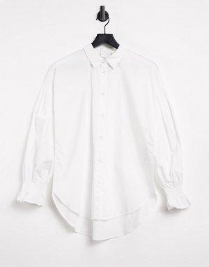Белая хлопковая рубашка с отделкой на манжетах -Голубой Vila