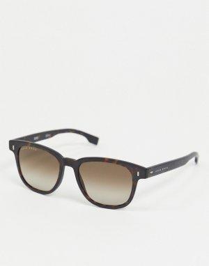 Круглые солнцезащитные очки в черепаховой оправе Hugo Boss-Коричневый цвет BOSS by