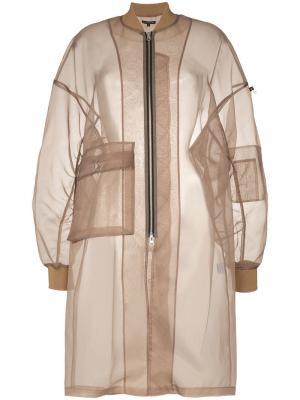 Прозрачная куртка-бомбер по колено Blindness. Цвет: коричневый