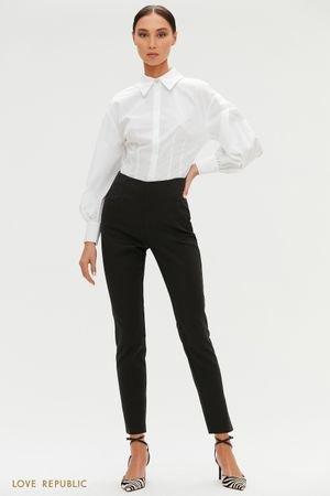 Черные зауженные брюки с высокой посадкой LOVE REPUBLIC