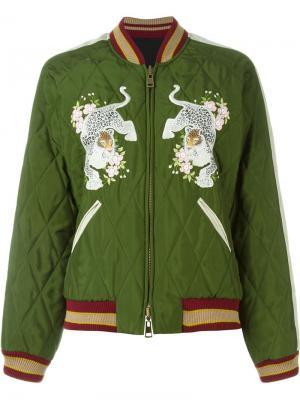 Куртка-бомбер с вышивкой Chloé. Цвет: зелёный