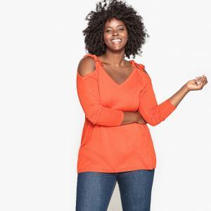 Пуловер с открытыми плечами CASTALUNA. Цвет: оранжево-красный