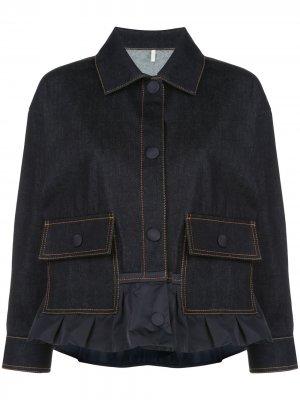 Джинсовая куртка на пуговицах Moncler. Цвет: синий
