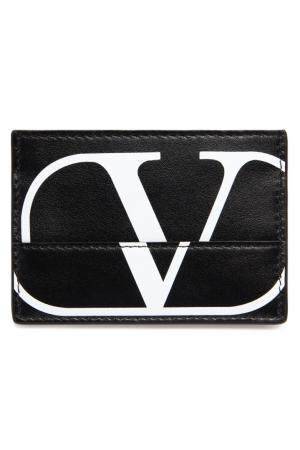 Черная визитница с логотипом Valentino. Цвет: черный