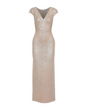 Длинное платье HERVÉ LÉGER. Цвет: пудровый
