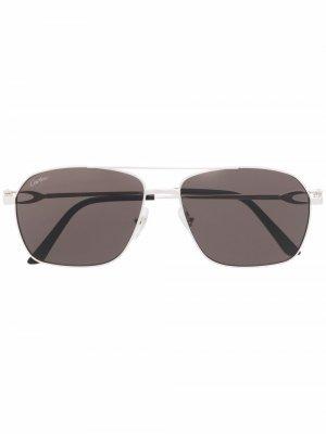 Солнцезащитные очки-авиаторы CT0306S Cartier Eyewear. Цвет: серебристый