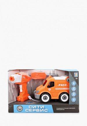 Игрушка радиоуправляемая 1Toy Сити-сервис экспресс доставка на р/у. Цвет: оранжевый