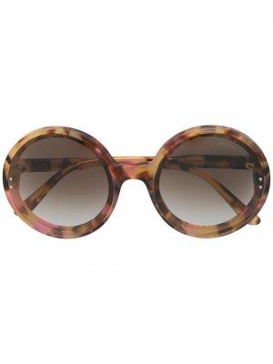 Солнцезащитные очки в круглой оправе Bottega Veneta Eyewear. Цвет: розовый