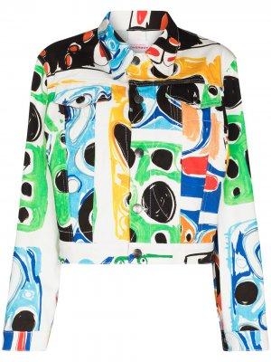 Джинсовая куртка с графичным принтом Charles Jeffrey Loverboy. Цвет: белый