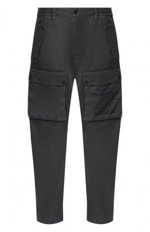 Хлопковые брюки Dsquared2. Цвет: серый