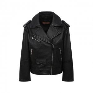 Кожаная куртка Yves Salomon. Цвет: чёрный