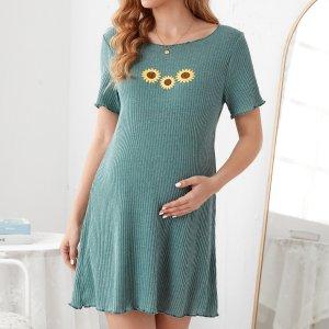 Волнистый край трикотажный Со цветочками Повседневный Домашняя одежда для беременных SHEIN. Цвет: кадетский синий