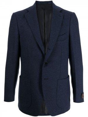 Шерстяной однобортный пиджак Man On The Boon.. Цвет: синий