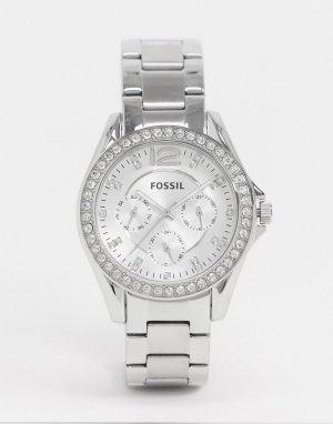 Серебристые наручные часы Riley ES3202-Серебряный Fossil
