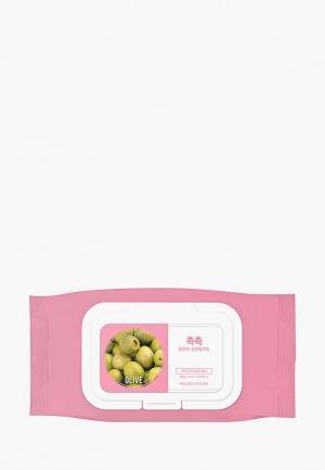 Салфетки для снятия макияжа Holika 60 шт Дэйли Фреш с оливой. Цвет: белый